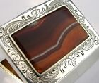 GOOD SIZE SOLID SILVER AGATE TABLE SNUFF TRINKET BOX c1980 82g 2.5inch