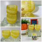 VTG 1960s MID Century MOD Yellow Spaghetti String Roly Poly Glass Drink Tumblers