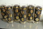 MID-CENTURY SET 6 FEDERAL HIGHBALL COCKTAIL GLASS by REEVES BLACK GOLD CROWNS
