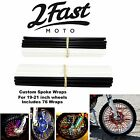 2FastMoto Spoke Wrap Kit Black White Spoked Wheel Rim Covers Wraps Skins Yamaha