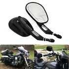 US Motorcycle Rear View Mirrors Edge Cut Black For Harley Davidson Super Glide