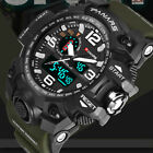 Mens Tactical Sport Digital Alarm 5 ATM Stopwatch Military Dual Display Watch GN