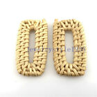 1pair Wood Round Sunflower Hat Diy Straw Weave Rattan Earring Jewelry Finding