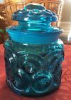 Vintage L.E Smith BLUE Moon Stars Apothecary JAR Pressed Glass CANISTER Dome LID