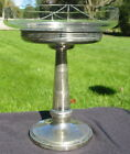 Vtg Chrome Pedestal Glass Etched Swag Serving Candy Dish Plate Retro Bowl Stand
