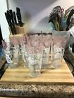 Hazel Atlas Kitchen Aids Tumblers White Pink Blue Designs Set of 9