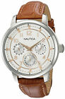 NAUTICA NCT Men's Multifunction Analog Dial Watch Brown Leather Strap NAD13544G