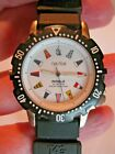 Vintage Men's Nautica Flag Sport Watch Indiglo Water Resistant Tag Heuer Band