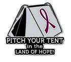 Burgundy Cancer Awareness Ribbon Pin Pitch Your Tent in the Land Hope Camping