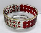 Vintage Mid-Century Red Polka Dot Clear Glass Serving Bowl w Gold