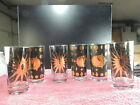 6 Fred Press MCM Tumblers Bar Glasses Atomic Sun Moon Black Gold