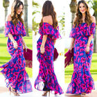 Boho Women Holiday Off Shoulder Floral Maxi Ladies Summer Beach Party Long Dress