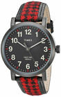 Timex TW2P98900 Women's  Analog Black Steel Watch Black/Red Fabric/Leather Strap