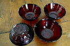 4 Vintage Pressed Glass FRANCE Ruby Red Bowls Very Nice Cereal Salad FREEUSSHIP