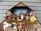 12 Piece Vintage Nativity Scene with Lighted Stable Holy Family Made in Italy