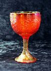 Fenton Glass Chalice Persian Medallion Orange Red Carnival 1 Yr Prod Circa 1970