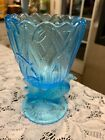 Teal Blue Glass Bird Vase or Spooner 6 Tall 3 3 4 Wide