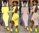 Women Short Sleeves Solid Color Backless Bodycon Club Party Slit Mini Dress