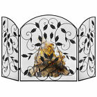 BCP 3 Panel 50x30in Steel Fireplace Screen w Rustic Finish Leaf Decals