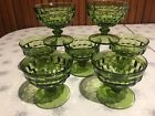 Vintage Indiana Glass Whitehall Cubist Avocado Green Sherbet Glasses (Set of 7)