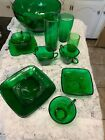Anchor Hocking Forest Green Charm Bowls,cup Saucer, Creamer Sugar,tumblers,plate