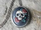 SKULL AND ROSES HAND PAINTED CAMEO ANTIQUED SILVER LOCKET RED ROSES GOTH