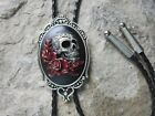 Hand Painted Skull and Roses Cameo Bolo Tie Necklace Choker Red Roses