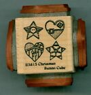 NORTHWOODS rubber stamp CHRISTMAS BUTTON CUBE wood mounted Ornament Star Heart
