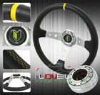 350MM BLACK YELLOW STEERING WHEEL + 1.5