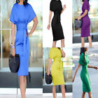 Work Pencil Midi Dress Casual Summer Short Sleeve Party Dresses with Belt