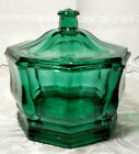 Vintage Indiana Glass Concord Emerald Green Covered Candy Bowl Dish Octagon