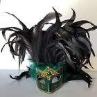 Mardi Gras Mask Venetian masquerade with large plume of feathers