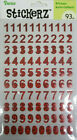 Red Holographic Numbers Stickers 93 Pcs Darice Free Shipping NIP