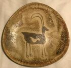 Large Pottery Charger with native American Scene Animal Horns David Salk Signed