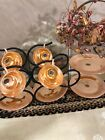 Vintage Anchor Hocking Fire King Peach Lustre Laurel 4 Cups And 4 Salad Plates