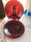 2 Anchor Hocking BUBBLE Ruby Red Dinner Plates 9 3/8 Inch