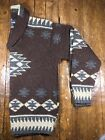 Vtg Polo Ralph Lauren Hand Knit Shawl Collar Sweater Native Aztec Indian Navajo
