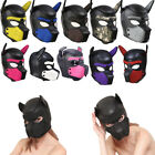 US Padded Latex Rubber Role Play Dog Mask Puppy Cosplay Full Head+ Ears 10 Color