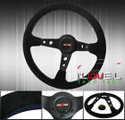 350mm Suede Leather Blue Stitch Steering Wheel God Snow Button 6-Bolts Hole Vip