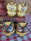 Lot of 2 Pairs of Vintage Ceramic Owl Salt  Pepper Shakers Earth Tones
