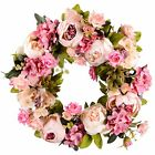 Artificial Wreaths Peony Flower 15 Pink Door Green Leaves Spring For Front