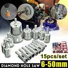 15 pcs 6 50mm Diamond Tool Drill Bit Hole Saw Cutter Glass For Tile Marble Glass