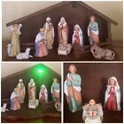 Vintage Large Homco Nativity Set Tree Wise Men Jesus Light Up Manger Stable