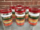 ~Vintage~Set of 6 Really Cool Striped Banded Glasses Tumblers Dead Mint 50s 60s