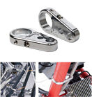 2X Chrome Brake Clutch Cable Wire Clamp Clip Holder For 1