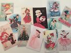 Lot of 12 Vintage Style Cute Gals CHRISTMAS CARDS Gift Tags DIE CUTS Crafts