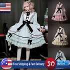 Womens Medieval Lolita Dress Ruffle Tiered Pretty Bow Lace Frock Cosplay Costume