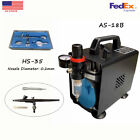 New 02mm Airbrush Kit Gravity Siphon Feed Air Compressor Crafts Hobby Art US