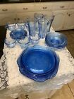 Indiana Glass Madrid Blue Recollection Dinner, Bowls, Tumblers,cup Saucer,sugar