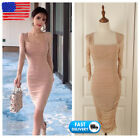 Summer Women Sexy Ruched Ruffle Pencil Dresses Knee Length Party Cocktail Dress